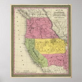 California, Oregon, Utah, New Mexico Poster