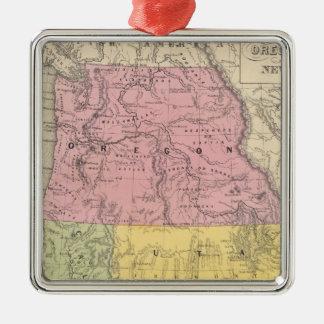 California, Oregon, Utah, y New México Adorno Navideño Cuadrado De Metal