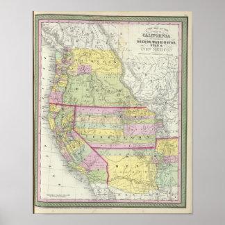 California, Oregon, Washington, Utah, New Mexico 2 Poster