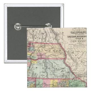 California, Oregon, Washington, Utah, New México 4 Pin Cuadrada 5 Cm