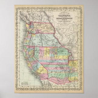 California, Oregon, Washington, Utah, New Mexico 4 Poster