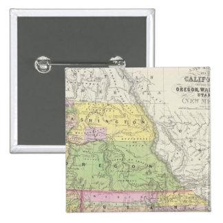 California, Oregon, Washington, Utah, New México 6 Pin Cuadrada 5 Cm