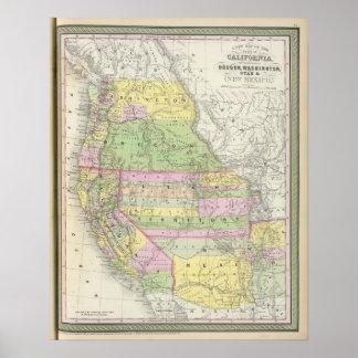 California, Oregon, Washington, Utah, New México 6 Póster