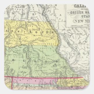 California, Oregon, Washington, Utah, New México 7 Calcomanías Cuadradas
