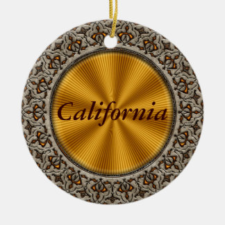 California Double-Sided Ceramic Round Christmas Ornament