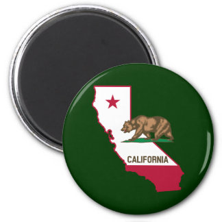 California Outline and Flag 2 Inch Round Magnet