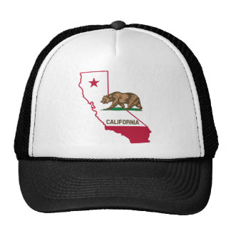 California Outline and Flag Mesh Hats