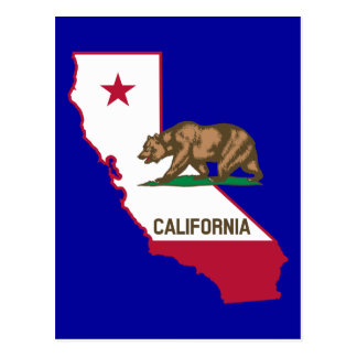 California Outline and Flag Post Cards