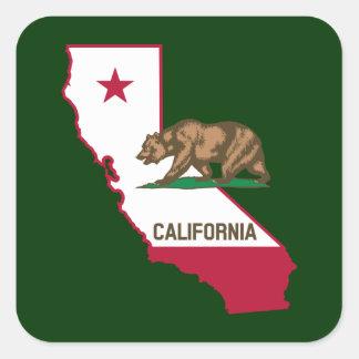 California Outline and Flag Square Sticker