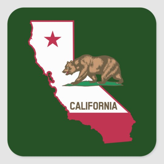 California Outline And Flag Square Sticker