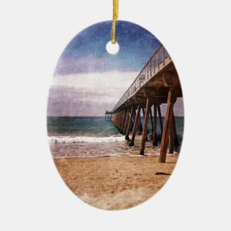 California Pacific Ocean Pier Ceramic Ornament