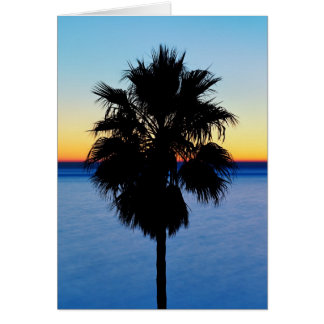 California Palm Tree and Pacific Ocean Sunset Card