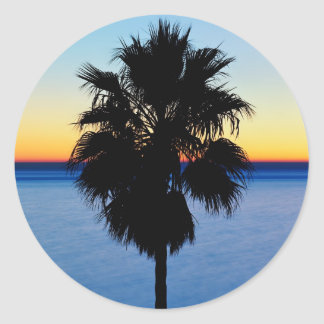 California Palm Tree and Pacific Ocean Sunset Classic Round Sticker