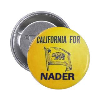 California para el botón de Nader Pin Redondo De 2 Pulgadas