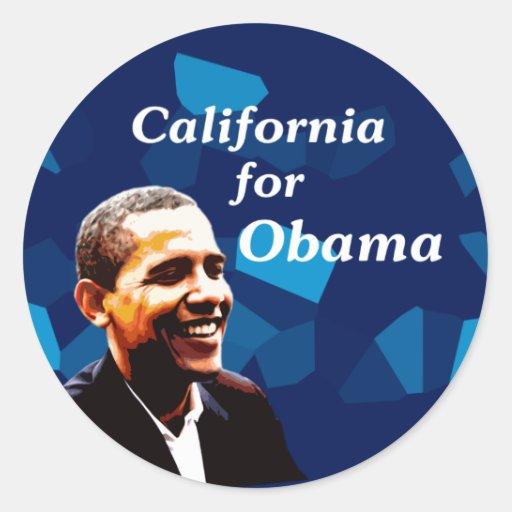 California para Obama 2008 Pegatina Redonda