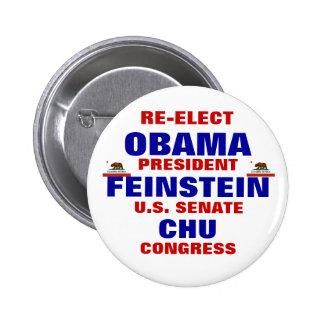 California para Obama Feinstein Chu Pin Redondo De 2 Pulgadas