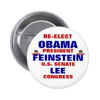 California para Obama Feinstein Lee Pin Redondo De 2 Pulgadas