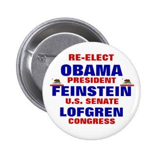 California para Obama Feinstein Lofgren Pin Redondo De 2 Pulgadas