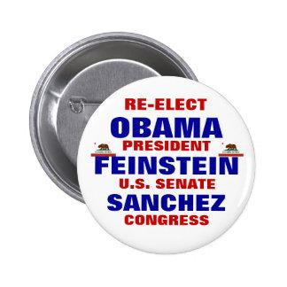 California para Obama Feinstein Sánchez Pin Redondo De 2 Pulgadas