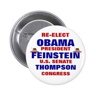 California para Obama Feinstein Thompson Pin Redondo De 2 Pulgadas