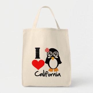 California Penguin - I Love California Canvas Bag