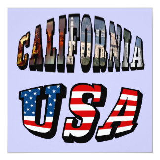 California Picture and USA Flag Text Card