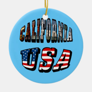 California Picture and USA Flag Text Ceramic Ornament
