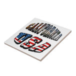 California Picture and USA Flag Text Ceramic Tile
