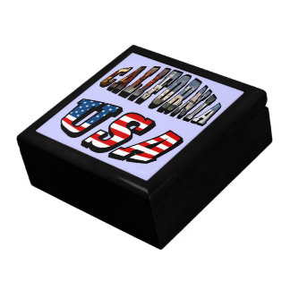California Picture and USA Flag Text Gift Box