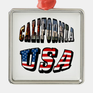 California Picture and USA Flag Text Metal Ornament