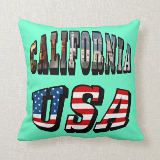 California Picture and USA Flag Text Throw Pillow