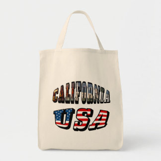 California Picture and USA Flag Text Tote Bag