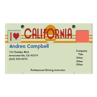 California Plates Business Card Template
