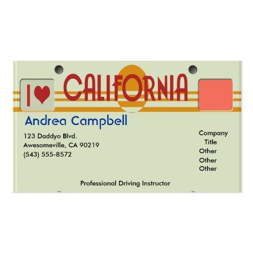 California Plates Business Card Template