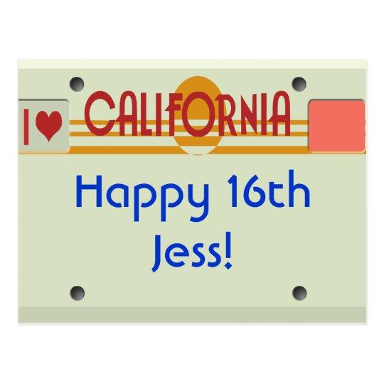 California Plates Postcard