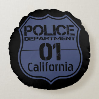 California Police Department Shield 01 Round Pillow