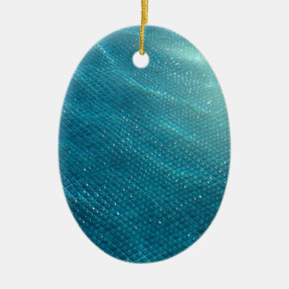 California Pool Double-Sided Oval Ceramic Christmas Ornament