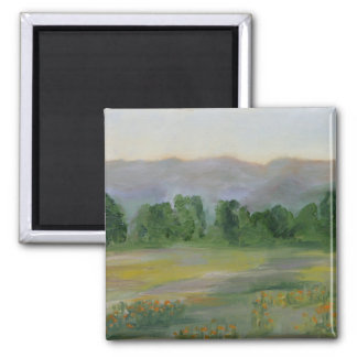 california poppies 2 inch square magnet