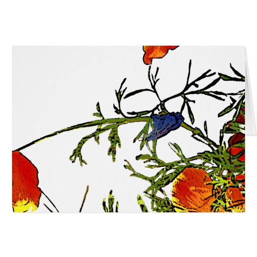 California poppies abstract greeting card