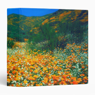 California Poppies and Popcorn wildflowers 3 Ring Binder