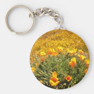 California Poppies Basic Round Button Keychain
