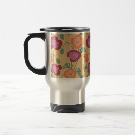 California Poppies Floral Pattern on Gold Mugs