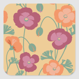 California Poppies Floral Pattern on Gold Square Sticker