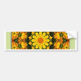 California Poppies, Flower-Mandala Bumper Sticker