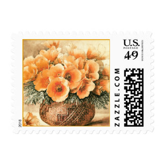 California Poppies in an Indian Basket Fine Art Postage Stamp