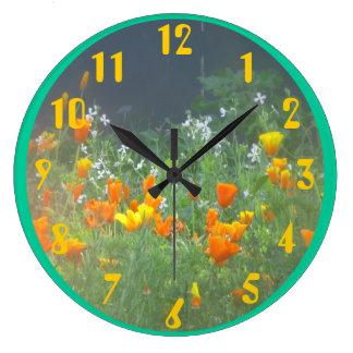 California Poppies Large Clock