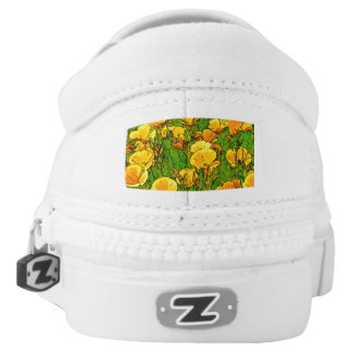 California Poppies, mandala-style Slip-On Sneakers