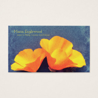 California poppies on blue business card