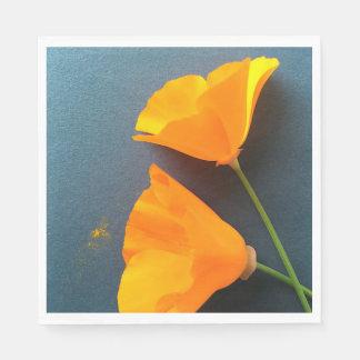 California poppies on blue napkin