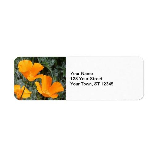 California Poppies Return Address Labels